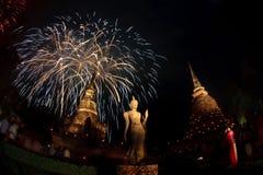 Feux d'artifice, stationnement historique Sukhothai Image stock