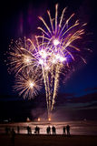 Feux d'artifice sur la plage Photo stock