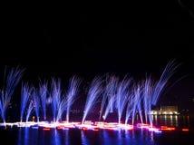Feux d'artifice sur la rivière Vltava Image libre de droits
