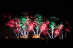 Feux d'artifice sur le festival de Carcassonne du 14 juillet 2012 Photographie stock