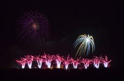 Feux d'artifice sur le festival de Carcassonne du 14 juillet 2012 Image stock