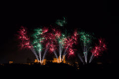 Feux d'artifice sur le festival de Carcassonne du 14 juillet 2012 Photo stock