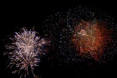 Feux d'artifice sur le quart Photographie stock libre de droits