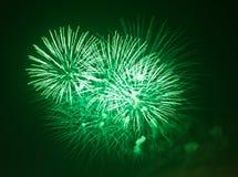 Feux d'artifice verts la nuit Image stock