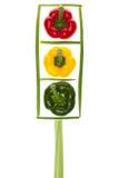 Feux de signalisation avec les poivrons colorés Photos stock