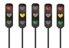Feux de signalisation d'amour/coeur Image stock