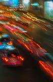 Feux de signalisation dans la tache floue de mouvement Photographie stock libre de droits