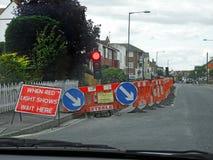 Feux de signalisation provisoires de travaux routiers photographie stock