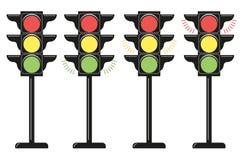 Feux de signalisation réglés, icônes Style plat de conception Éléments de vecteur d'isolement sur le fond clair illustration libre de droits