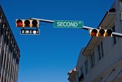 Feux de signalisation sur la deuxième rue Image stock