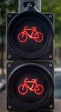 Feux de signalisation verticaux pour des cyclistes Images stock
