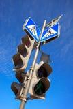 Feux et signe de signalisation Photo stock