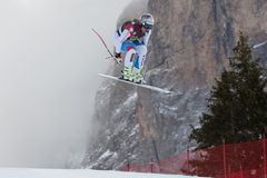 FEUZ Beat (SUI). VAL GARDENA, ITALY - DECEMBER 21:  FEUZ Beat (SUI) races down the Saslong competing in the Audi FIS Alpine Skiing World Cup MEN'S DOWNHILL on Royalty Free Stock Images