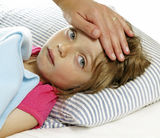 Fever. Mother takes care of the sick little girl with fever royalty free stock photography
