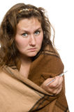 Fever. Portrait upset woman with fever over white Stock Photography