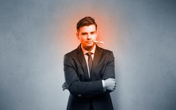 Sick businessman with burning red head concept royalty free stock photos