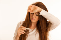 Fever illness flu woman Stock Photo