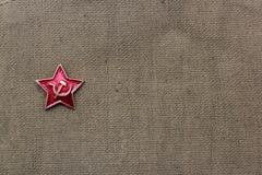 Fevereiro 23 Defensor do dia da pátria Uma estrela vermelha no fundo militar 9 de maio Victory Day Dia do `s do pai Fotografia de Stock