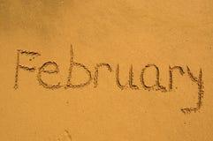 Fevereiro na areia Fotos de Stock Royalty Free