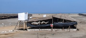 Views of the Ocean in Southern Peru. A few abandoned chicken farms along an otherwise unspoiled coast of southern Peru royalty free stock image