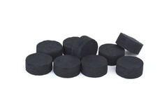 Few activated carbon pills Royalty Free Stock Images