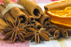 A few anise stars and cassia cinnamon sticks Stock Photo
