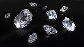 Few asscher cut diamonds Royalty Free Stock Photo