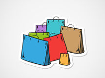 Few bags for shopping. Sketch of the few bags for shopping stock illustration