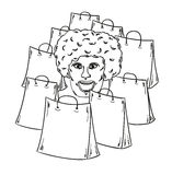 Few bags for shopping and woman face. Sketch of the few bags for shopping and woman face Royalty Free Stock Photography