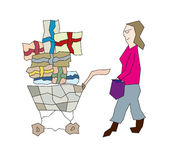 Few bags for shopping and woman. Sketch of the few bags and woman, shopping stock illustration
