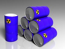 Few barrels with a radioactive symbol royalty free stock photography
