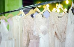 A few beautiful wedding dresses Stock Image
