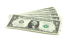 A few bills into one US dollar Stock Photos