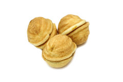 A few biscuits in the shape of a walnut Royalty Free Stock Image