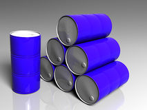 Few blue barrels. Three dimensional model Royalty Free Stock Images