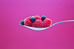 Few blueberries and raspberries on metal spoon Royalty Free Stock Photo