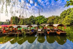 Few boats on the lake. Under blue sky in the park Stock Photography