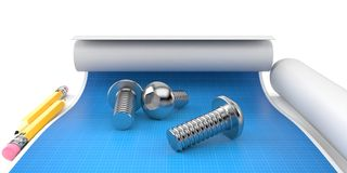 Few bolts on blueprint. Few bolts lies on blueprint Royalty Free Stock Photography