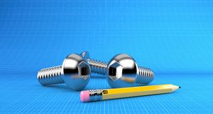 Few bolts with pencil. On blueprint background Royalty Free Stock Photography