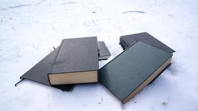 Books in snow stock images