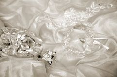 Few of bride's  accessories in sepia Royalty Free Stock Photo