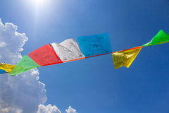Few buddhist tibetan prayer flags Royalty Free Stock Images