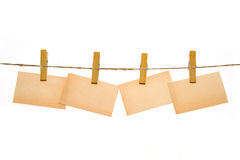 Few business card hang on clothes-pin Stock Photo