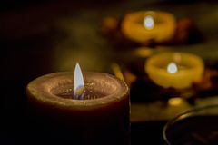 Some romance with candles on a table. Few candles in the table with romantic atmosphere, valentine`s day Stock Image