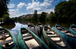 Few canoe on river in Marburg Stock Images