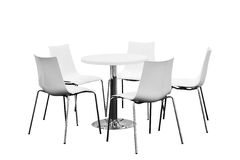 Few chairs around table, nobody, Isolated on white background.  Stock Images