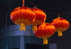 A few Chinese lanterns at night Royalty Free Stock Image