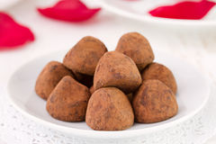 Few chocolate truffles Stock Photography