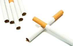 Few cigarettes on white Royalty Free Stock Image