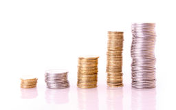 Few coin columns isolated Stock Photos